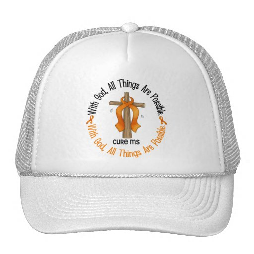 Multiple Sclerosis MS WITH GOD CROSS 1 Trucker Hat
