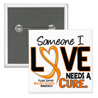 Multiple Sclerosis NEEDS A CURE 2 15 Cm Square Badge
