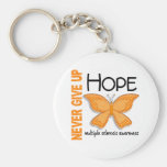 Multiple Sclerosis Never Give Up Hope Butterfly 4 Basic Round Button Key Ring