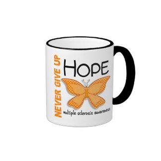 Multiple Sclerosis Never Give Up Hope Butterfly 4 Ringer Mug