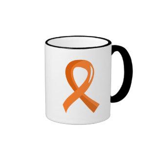 Multiple Sclerosis Orange Ribbon 3 Ringer Mug