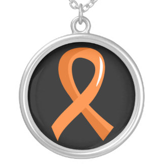 Multiple Sclerosis Orange Ribbon 3 Silver Plated Necklace
