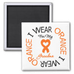 Multiple Sclerosis Orange Ribbon Grandma Square Magnet