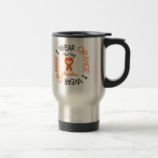 Multiple Sclerosis Orange Ribbon Grandson Stainless Steel Travel Mug