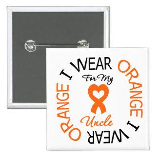 Multiple Sclerosis Orange Ribbon Uncle 15 Cm Square Badge