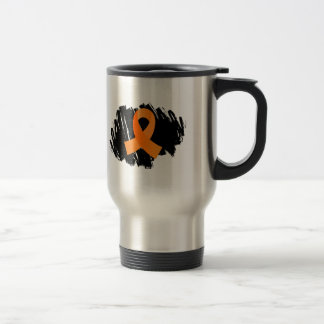 Multiple Sclerosis Orange Ribbon With Scribble Stainless Steel Travel Mug