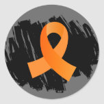 Multiple Sclerosis Orange Ribbon With Scribble Round Sticker