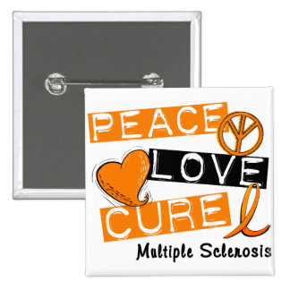 Multiple Sclerosis PEACE LOVE CURE 1 15 Cm Square Badge