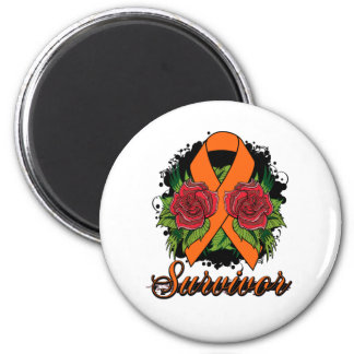 Multiple Sclerosis Survivor Rose Grunge Tattoo 6 Cm Round Magnet