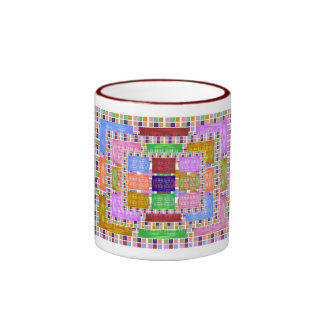 Multiple Silk Screen Squares Double Pattern Mug