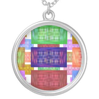 Multiple Silk Squares Round Pendant Necklace