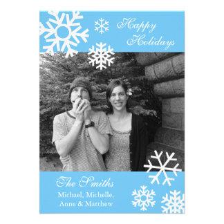 Multiple Snowflakes Christmas Photo Card Lt Blue Invite
