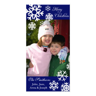 Multiple Snowflakes Christmas Photo Card Navy Blue