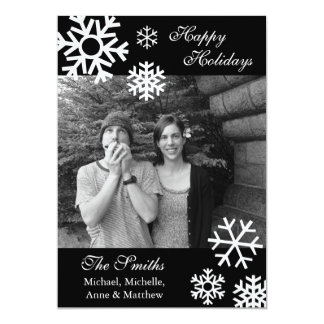 Multiple Snowflakes Christmas Photo Cards (Black)