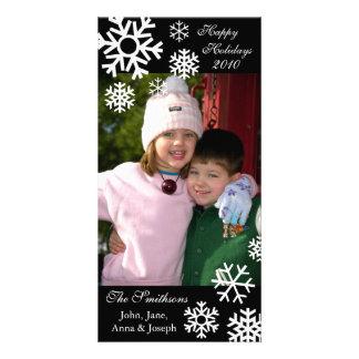 Multiple Snowflakes Christmas Photocard (Black) Card