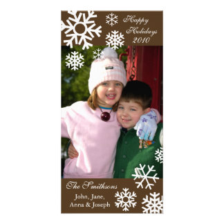 Multiple Snowflakes Christmas Photocard (Brown) Card