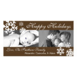Multiple Snowflakes Christmas Photocard (Brown) Photo Card