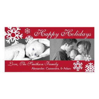 Multiple Snowflakes Christmas Photocard (Burgandy) Card