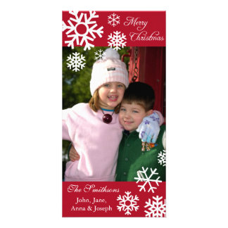 Multiple Snowflakes Christmas Photocard (Burgandy) Personalised Photo Card