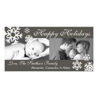 Multiple Snowflakes Christmas Photocard Dark Gray Card
