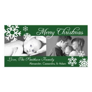 Multiple Snowflakes Christmas Photocard Evergreen Card