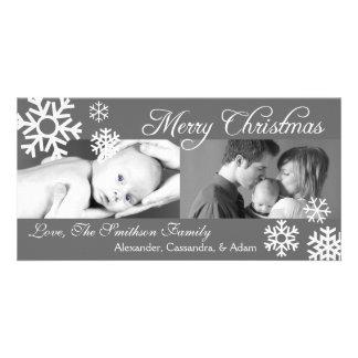 Multiple Snowflakes Christmas Photocard (Gray) Card