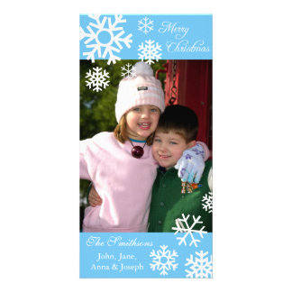 Multiple Snowflakes Christmas Photocard Light Blue Personalized Photo Card