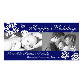 Multiple Snowflakes Christmas Photocard Navy Blue Card