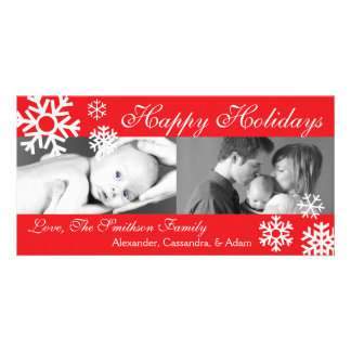 Multiple Snowflakes Christmas Photocard (Red) Card