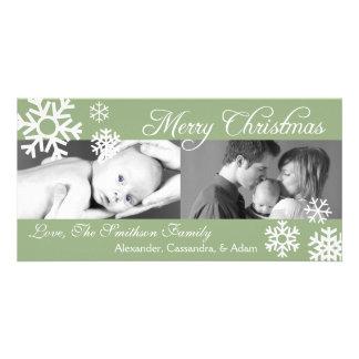 Multiple Snowflakes Christmas Photocard (Sage) Card