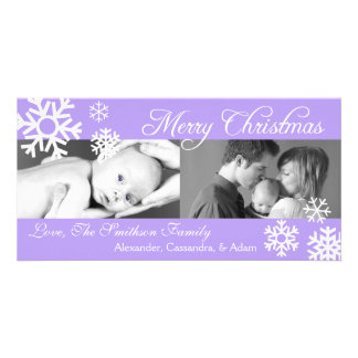 Multiple Snowflakes Christmas Photocard (Violet) Card