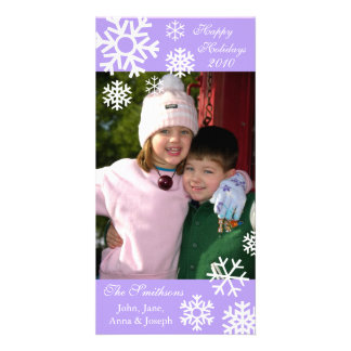 Multiple Snowflakes Christmas Photocard (Violet) Photo Greeting Card