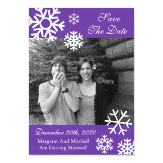 Multiple Snowflakes Photo Save The Dates (Purple) Card