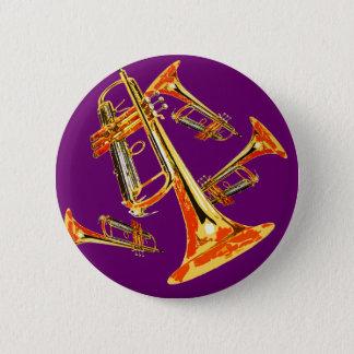 Multiple Trumpets 6 Cm Round Badge