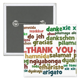 Multiple Ways to Say Thank You in Many Languages 15 Cm Square Badge