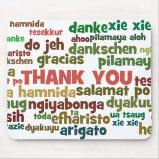 Multiple Ways to Say Thank You in Many Languages Mouse Mat