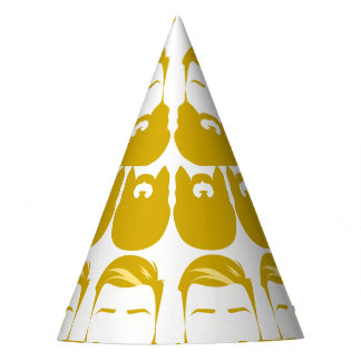 Multiple Yellow Beards Party Hat