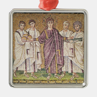 Multiplication of the Bread and Fishes Silver-Colored Square Decoration