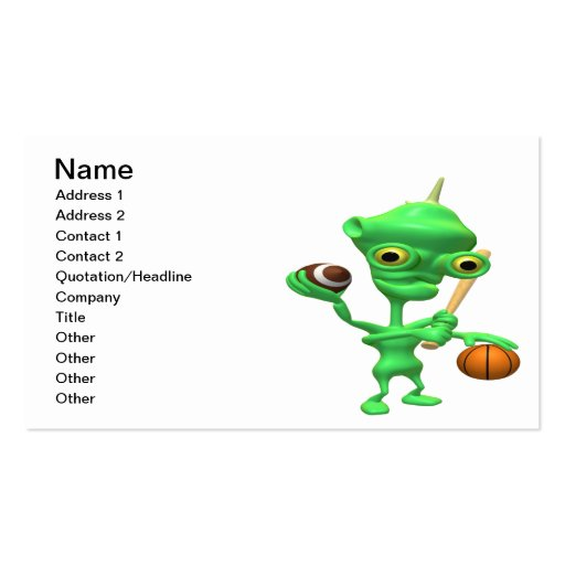 Multitasking Sports Alien Business Card Template