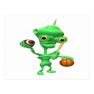 Multitasking Sports Alien Postcard
