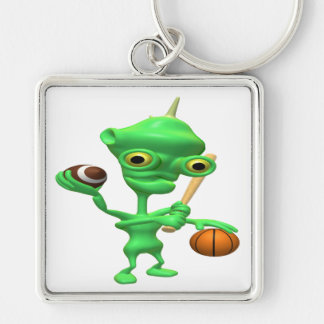 Multitasking Sports Alien Silver-Colored Square Key Ring