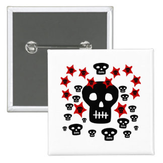 Multitude of Skulls With Weird Stars 15 Cm Square Badge