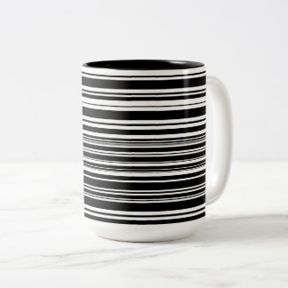 Multitudes of Uneven Black and White Stripes Two-Tone Coffee Mug