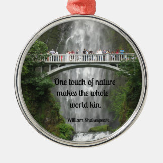 Multnomah Falls and quote about nature. Christmas Ornament