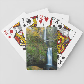 Multnomah Falls In Autumn In The Columbia Gorge Playing Cards