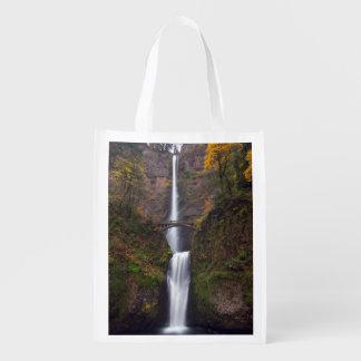 Multnomah Falls in late Autumn Reusable Grocery Bag