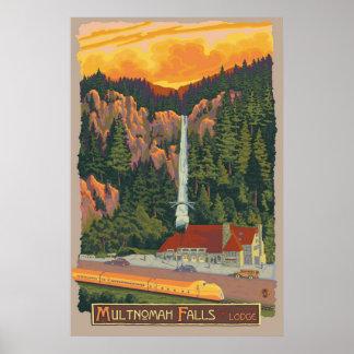 Multnomah Falls & Lodge, Oregon Travel Poster