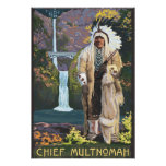 Multnomah Falls, OregonChief Multnomah Poster