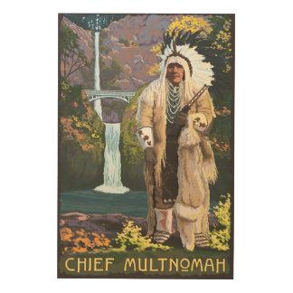 Multnomah Falls, OregonChief Multnomah Wood Print
