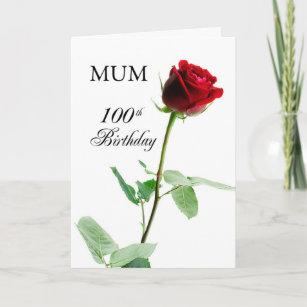 Mum 100th Birthday Red Rose Flower Card